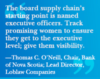 """The board supply chain's starting point is named executive officers. Track promising women to ensure they get to the executive level; give them visibility.""—Thomas C. O'Neill, Chair, Bank of Nova Scotia; Lead Director, Loblaw Companies"