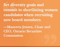 """Set diversity goals and commit to shortlisting women candidates when recruiting new board members. ""—Maureen Jensen, Chair and CEO, Ontario Securities Commission"